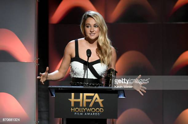 Actor Shailene Woodley speaks onstage during the 21st Annual Hollywood Film Awards at The Beverly Hilton Hotel on November 5 2017 in Beverly Hills...