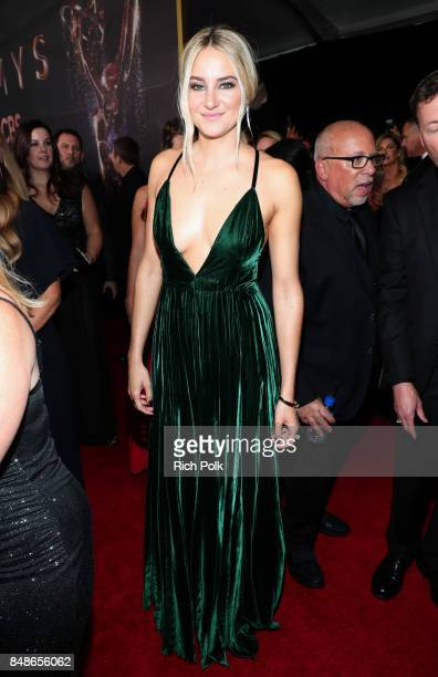 Actor Shailene Woodley walks the red carpet during the 69th Annual Primetime Emmy Awards at Microsoft Theater on September 17, 2017 in Los Angeles,...