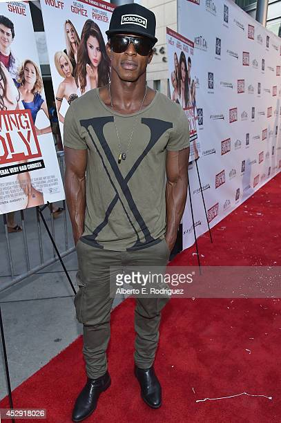 Actor Shaka Smith arrives to the premiere of Mad Chance's Behaving Badly at the ArcLight Hollywood on July 29 2014 in Hollywood California