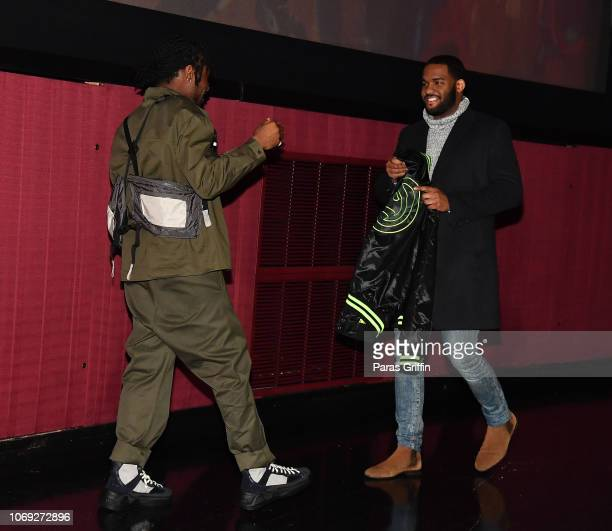 Actor Shameik Moore and Jhordan Gibbs attend 'Spiderman Into The SpiderVerse' Atlanta screening at Regal Atlantic Station on December 6 2018 in...
