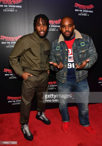 Actor Shameik Moore and radio personality Headkrack attend 'Spiderman Into The SpiderVerse' Atlanta screening at Regal Atlantic Station on December 6...