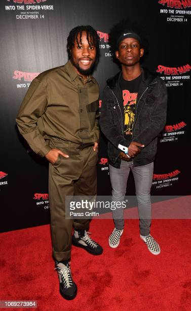 Actor Shameik Moore and Tyler Williams attend 'Spiderman Into The SpiderVerse' Atlanta screening at Regal Atlantic Station on December 6 2018 in...