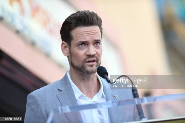 Actor Shane West attends a ceremony honoring Mandy Moore with a star on The Hollywood Walk of Fame on March 25 2019 in Hollywood California
