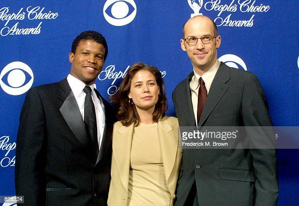 Actor Sharif Atkins, Maura Tierney and Anthony Edwards pose during the 28th Annual People's Choice Awards at the Pasadena Civic Center January 13,...