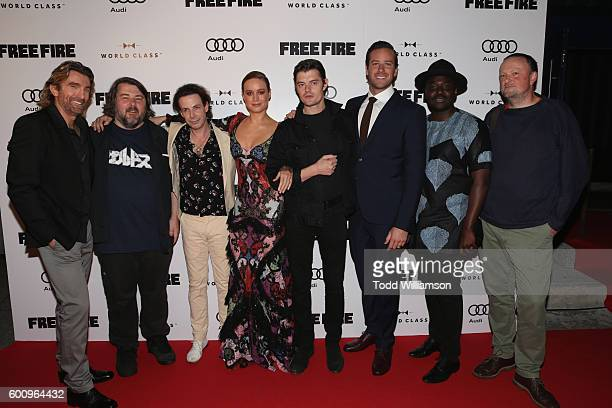 Actor Sharlto Copley director Ben Wheatley actors Noah TaylorBrie Larson Sam Riley Armie Hammer Babou Ceesay and producer Andy Starke attend the...