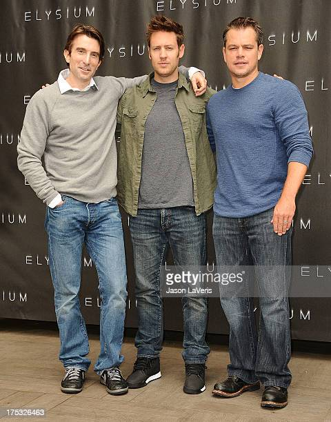 Actor Sharlto Copley director Neill Blomkamp and actor Matt Damon attend the 'Elysium' photo call at Four Seasons Hotel Los Angeles at Beverly Hills...