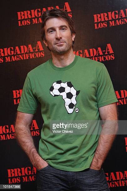 Actor Sharlto Copley poses to photographers during 'The ATeam' photo call at the Four Seasons Hotel on June 1 2010 in Mexico City Mexico