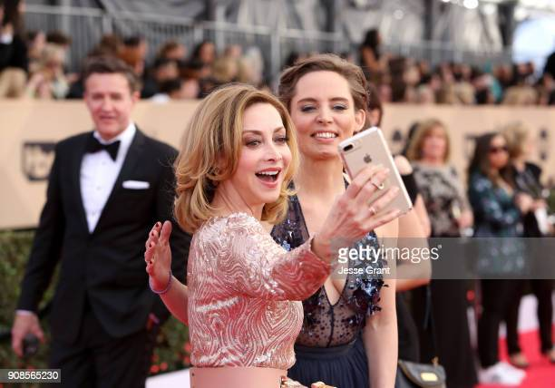 Actor Sharon Lawrence and Champagne Taittinger Artistic Director Vitalie Taittinger take a selfie during the 24th Annual Screen ActorsGuild Awards...