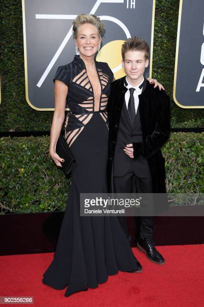 Actor Sharon Stone and son Roan Joseph Bronstein attend The 75th Annual Golden Globe Awards at The Beverly Hilton Hotel on January 7 2018 in Beverly...
