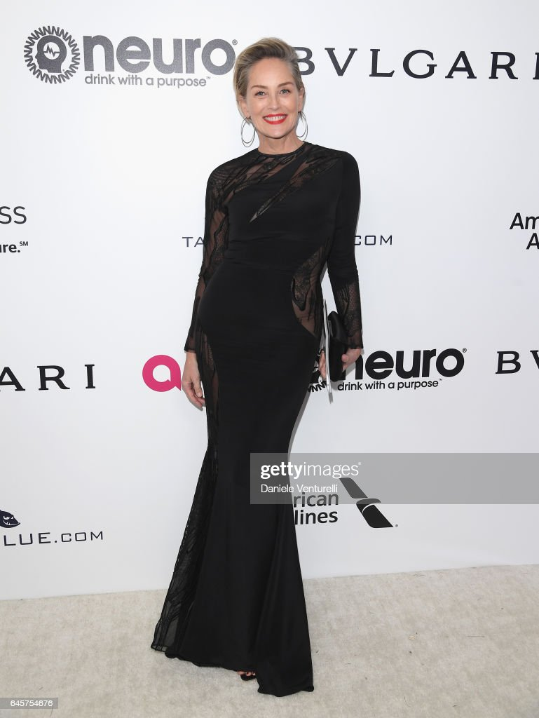 Actor Sharon Stone attends Bulgari at the 25th Annual Elton John AIDS Foundation's Academy Awards Viewing Party at on February 26, 2017 in Los Angeles, California.