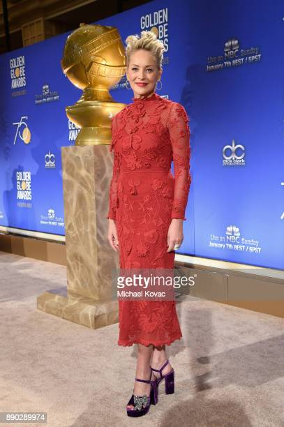 Actor Sharon Stone attends Moet Chandon Toasts The 75th Annual Golden Globe Awards Nominations at The Beverly Hilton Hotel on December 11 2017 in...