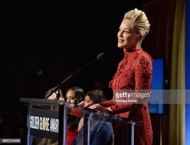 Actor Sharon Stone speaks during Moet Chandon Toasts The 75th Annual Golden Globe Awards Nominations at The Beverly Hilton Hotel on December 11 2017...