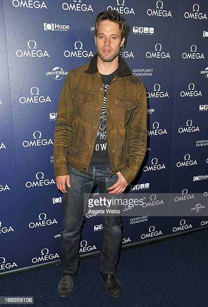 Actor Shaun Sipos attends the US launch of 'Planet Ocean' presented by Omega Watches at Pacific Design Center on April 18 2013 in West Hollywood...