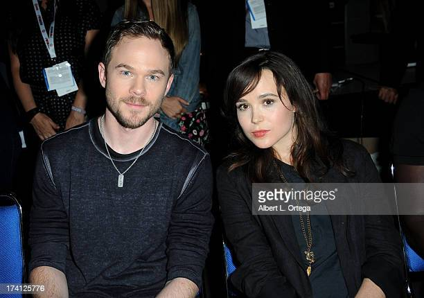Actor Shawn Ashmore and actress Ellen Page appear at the 20th Century Fox 'XMen Days of Future Past' panel during ComicCon International 2013 at San...