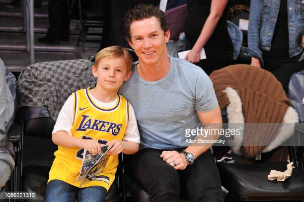 Actor Shawn Hatosy and son Leo Hatosy attend a basketball game between the Los Angeles Lakers and Memphis Grizzlies at Staples Center on December 23...