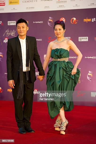 Actor Shawn Yu poses with actress Miriam Yeung on arrival at the 29th Hong Kong Film Awards at the The Hong Kong Cultural Centre on April 18 2010 in...