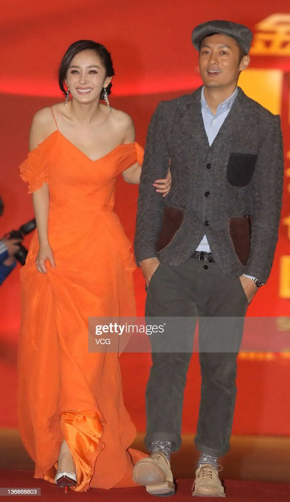 Actor Shawn Yue and actress Yang Mi attend the SOHU.COM TV Drama Awards at Beijing Exhibition Center Theatre on January 11, 2012 in Beijing, China.