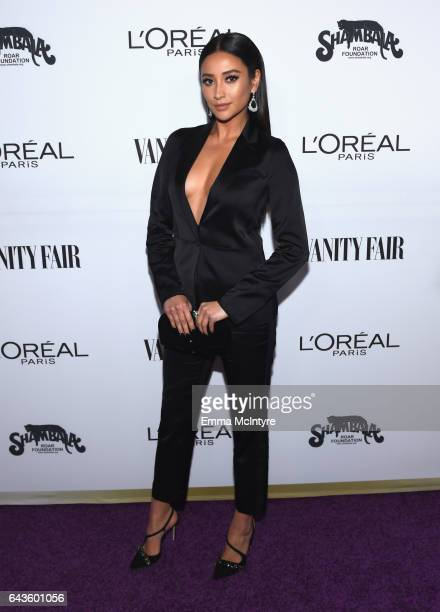 Actor Shay Mitchell attends Vanity Fair and L'Oreal Paris Toast to Young Hollywood hosted by Dakota Johnson and Krista Smith at Delilah on February...