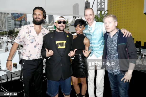 Actor Shazad Latif host Kevin Smith actors Sonequa MartinGreen Doug Jones and Anthony Rapp attend the #IMDboat At San Diego ComicCon 2018 Day Two at...