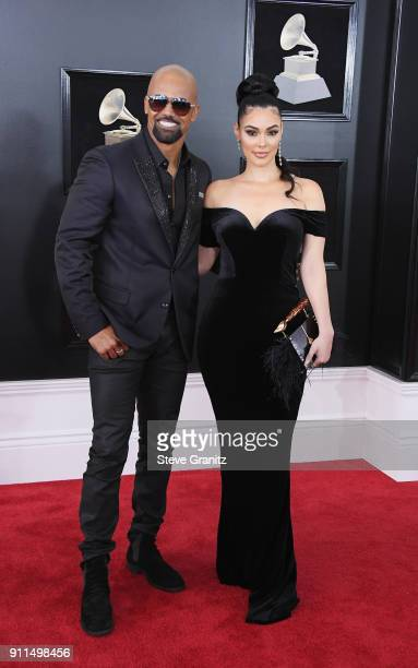 Actor Shemar Moore and Anabelle Acosta attend the 60th Annual GRAMMY Awards at Madison Square Garden on January 28 2018 in New York City