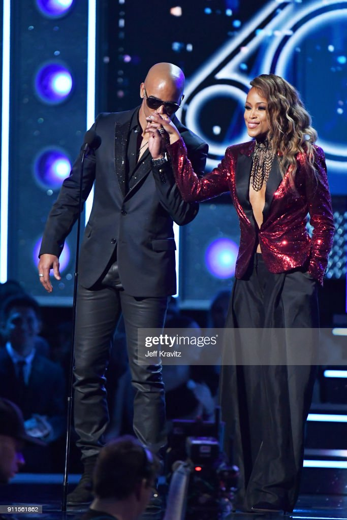 Actor Shemar Moore (L) and recording artist Eve speak onstage during the 60th Annual GRAMMY Awards at Madison Square Garden on January 28, 2018 in New York City.