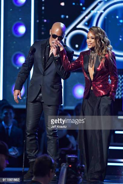 Actor Shemar Moore and recording artist Eve speak onstage during the 60th Annual GRAMMY Awards at Madison Square Garden on January 28 2018 in New...