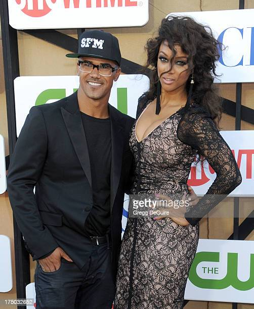 Actor Shemar Moore and supermodel Tyra Banks arrive at the CBS/CW/Showtime Television Critic Association's summer press tour party at 9900 Wilshire...