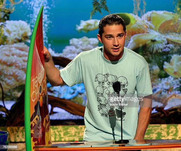 Actor Shia LaBeouf accepts the 'Choice Movie Actor Breakout' award for 'Transformers' onstage during the 2007 Teen Choice Awards held at The Gibson...