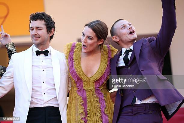 Actor Shia LaBeouf actress Riley Keough and actor McCaul Lombardi leave the American Honey premiere during the 69th annual Cannes Film Festival at...