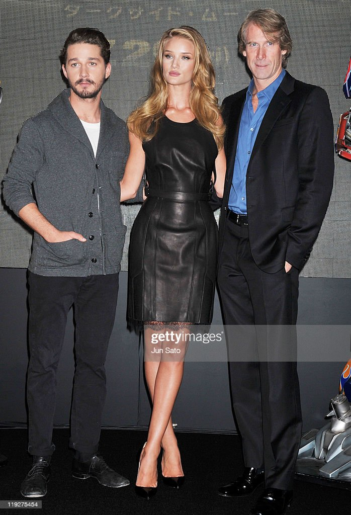 Actor Shia LaBeouf, actress Rosie Huntington-Whiteley and director Michael Bay attend the 'Transformers: Dark of the Moon' press conference at the St. Regis Hotel Osaka on July 16, 2011 in Osaka, Japan. The film will open on July 29 in Japan.