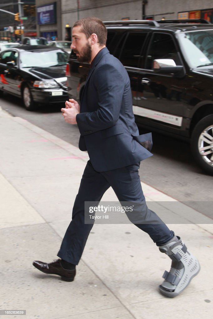 Actor Shia LaBeouf arrives 'Late Show with David Letterman' at Ed Sullivan Theater on April 1, 2013 in New York City.