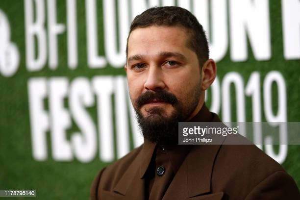 Actor Shia LaBeouf attends The Peanut Butter Falcon UK Premiere during 63rd BFI London Film Festival at the Embankment Gardens Cinema on October 03...