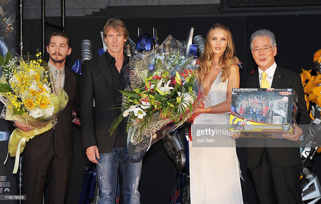 Actor Shia LaBeouf, director Michael Bay, actress Rosie Huntington-Whiteley and Osaka Mayor Kunio Hiramatsu attend the 'Transformers: Dark of the Moon' stage greeting at Osaka Station City Cinema on July 16, 2011 in Osaka, Japan. The film will open on July 29 in Japan.