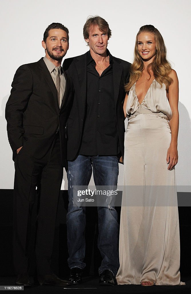 Actor Shia LaBeouf, director Michael Bay and actress Rosie Huntington-Whiteley attend the 'Transformers: Dark of the Moon' stage greeting at Osaka Station City Cinema on July 16, 2011 in Osaka, Japan. The film will open on July 29 in Japan.