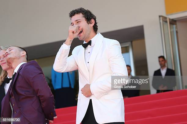 Actor Shia LaBeouf laughs at the 'American Honey' premiere during the 69th annual Cannes Film Festival at the Palais des Festivals on May 15 2016 in...