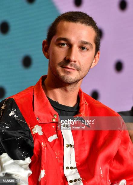 Actor Shia LaBeouf speaks at the 'Borg/McEnroe' press conference during the 2017 Toronto International Film Festival at TIFF Bell Lightbox on...