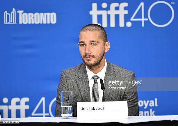 Actor Shia LaBeouf walks onstage during the 'Man Down' press conference at the 2015 Toronto International Film Festival at TIFF Bell Lightbox on...