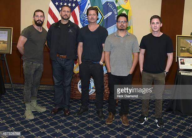 "Actor Shia LaBeouf, Writer/Director David Ayer Actors Brad Pitt, Michael Pena and Logan Leman attend ""Fury"" - Fort Benning Georgia Special Screening..."