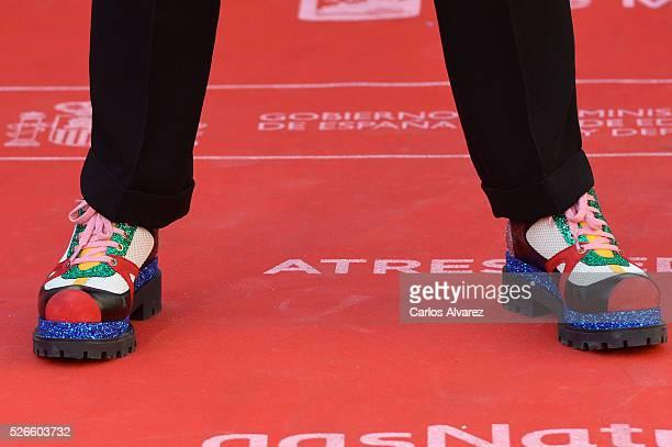 Actor shoes detail Eduardo Casanova attends Nuestros Amantes premiere at the Cervantes Teather during the 19th Malaga Film Festival on April 30 2016...