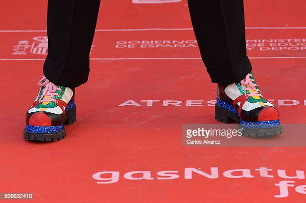 Actor shoes detail Eduardo Casanova attends Nuestros Amantes premiere at the Cervantes Teather during the 19th Malaga Film Festival on April 30 2016...