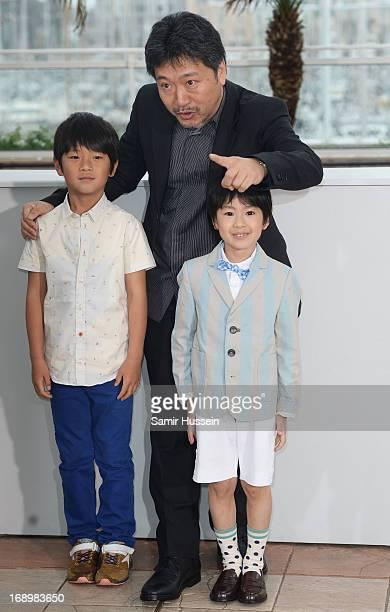 Actor Shogen Whang director Hirokazu Koreeda and actor Keita Ninomiya attend the 'Soshite Chichi Ni Naru' Photocall during the 66th Annual Cannes...