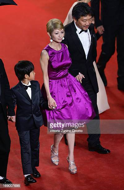 Actor Shogen Whang Yoko Maki and director Hirokazu Koreeda attend the 'Soshite Chichi Ni Naru' Premiere during the 66th Annual Cannes Film Festival...