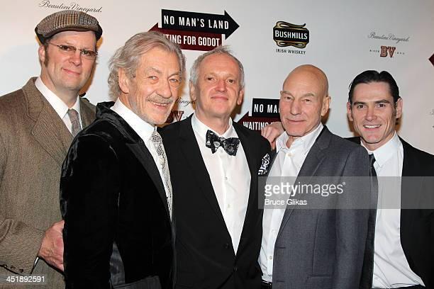 "Actor Shuler Hensley, actor Ian McKellen, director Sean Mathias, actor Patrick Stewart and actor Billy Crudup pose at the ""No Man's Land"" & ""Waiting..."