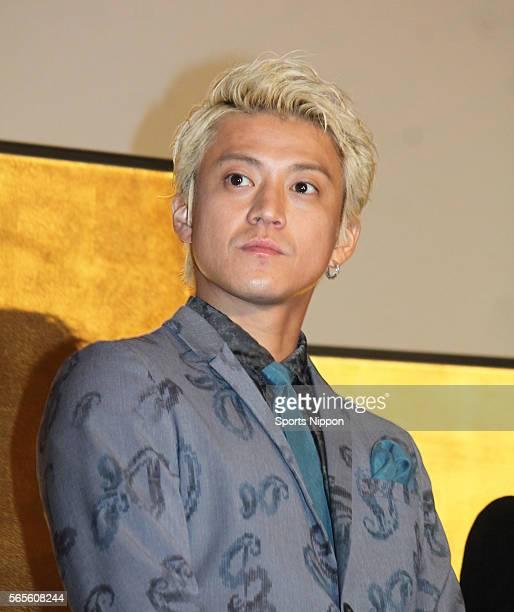 Actor Shun Oguri attends opening day greeting of the 'Nobunaga Kyousoukyoku' on January 23 2016 in Tokyo Japan