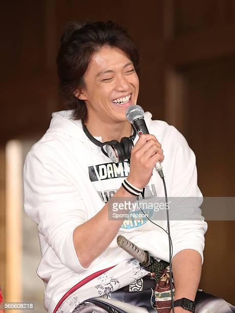 Actor Shun Oguri attends the 'Nobunaga Kyousoukyoku' press conference on October 6 2014 in Tokyo Japan