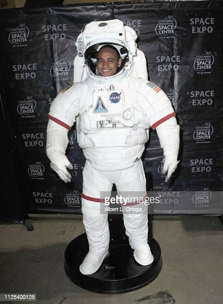 Actor Siaki Sii poses inside a space suit at the 2019 Long Beach Comic Expo held at Long Beach Convention Center on February 16 2019 in Long Beach...