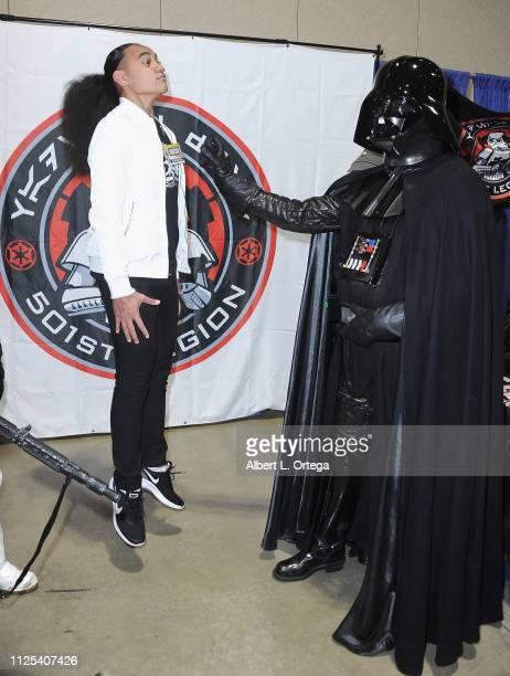Actor Siaki Sii poses with Darth Vader at the 2019 Long Beach Comic Expo held at Long Beach Convention Center on February 16 2019 in Long Beach...
