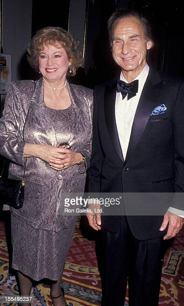Actor Sid Caesar and wife Florence Caesar attend Neil Simon Tribute Gala on April 22 1990 at the Plaza Hotel in New York City
