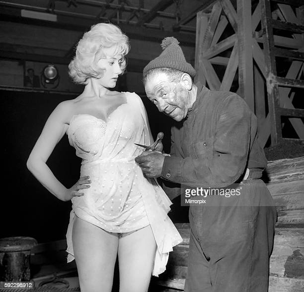 Actor Sidney James on set with Liz Fraser at Twickenham Studios were they are making Double Bunk October 1960