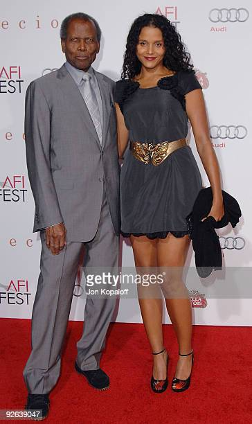 """Actor Sidney Poitier and daughter actress Sydney Tamiia Poitier arrive at the Los Angeles Premiere """"Precious: Based On The Novel Push By Sapphire"""" at..."""